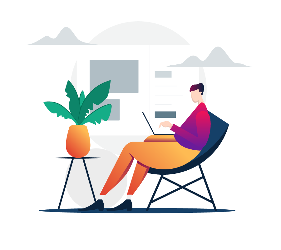 Stylized drawing of person sitting in a chair working on a laptop